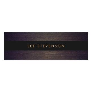 Simple Modern Black Stripes Elegant Wood Look Business Cards