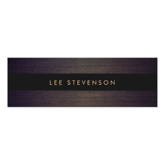 Simple Modern Black Stripes Elegant Wood Look Double-Sided Mini Business Cards (Pack Of 20)