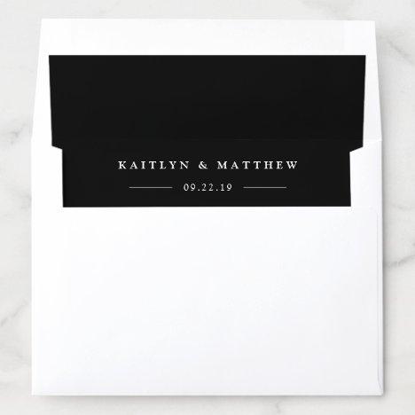 Simple Modern Black Wedding Envelope Liner
