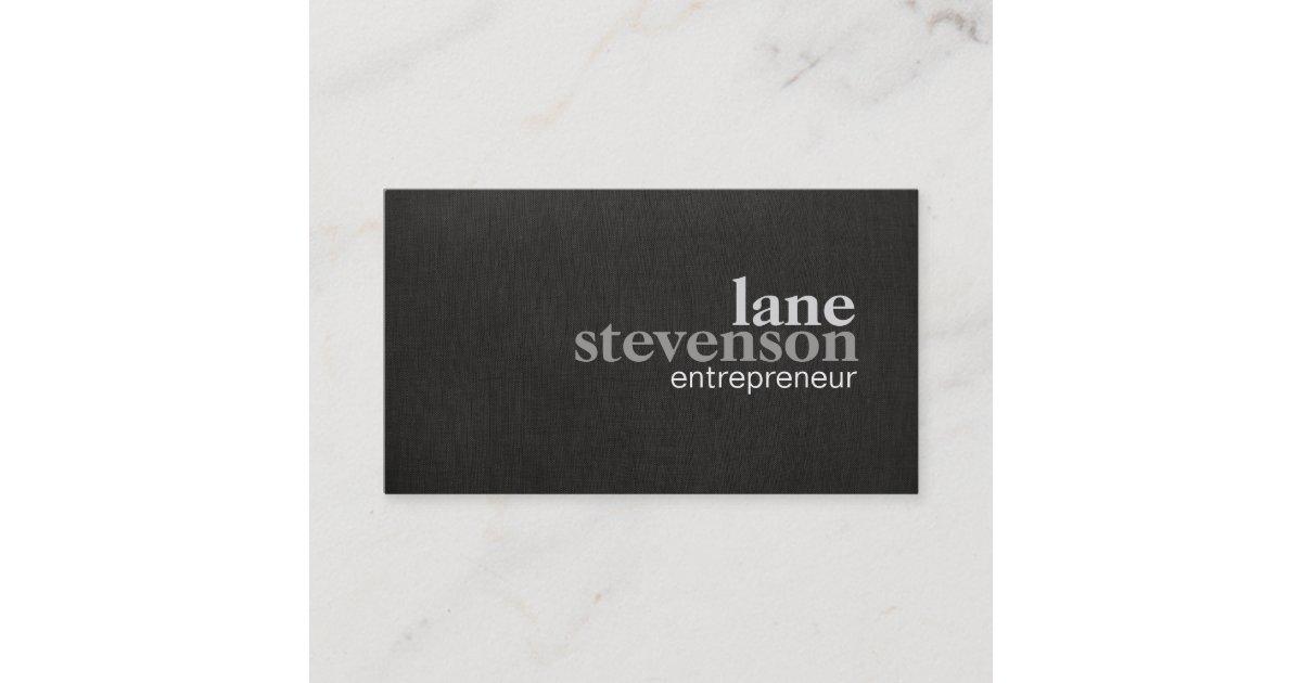 Simple Modern Bold Font Linen Look Black Business Card | Zazzle.com