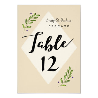 Simple Modern Botanical Wedding Table Number Card