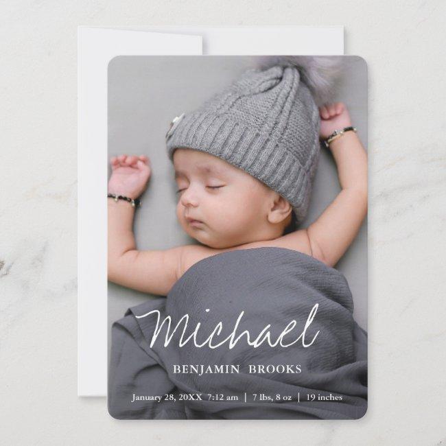 Simple Modern Boy or Girl Custom Full Photo Birth Announcement