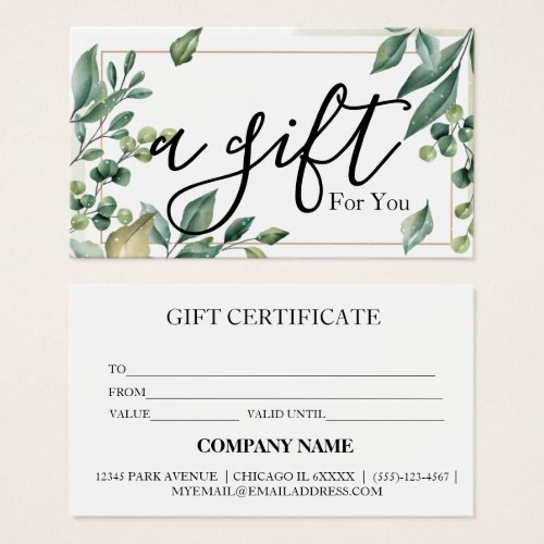 Simple  Modern Business Gift Certificate