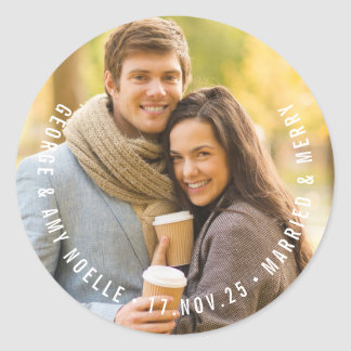 Simple Modern Circle Text Holiday Photo Sticker