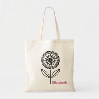 Simple Modern Custom Personalzed Flower Tote Bag