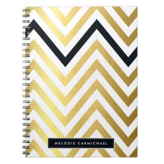 SIMPLE modern cute chevron pattern gold black Spiral Notebooks