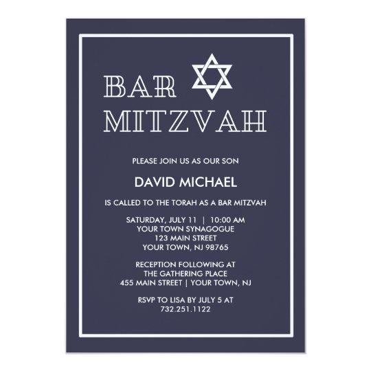 Simple Modern Dark Blue And White Bar Mitzvah Invitation