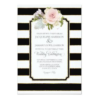 Simple Modern Elegant Black White Stripe w Gold Card