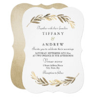Simple Modern Elegant Gold Leaf Wedding Invitation