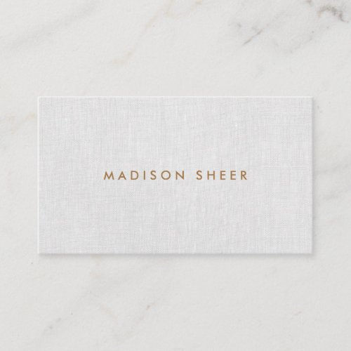 Simple Modern, Elegant Gray Linen Professional Business Card