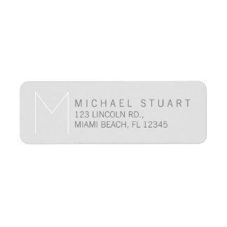 Simple Modern Elegant Grey Monogram Label