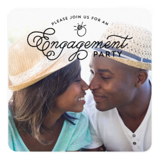 Simple Modern Engagement Party Full Photo Square Card