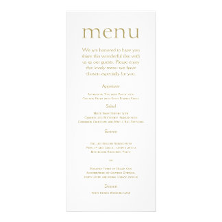 Simple Modern Gold Metallic Wedding Menu