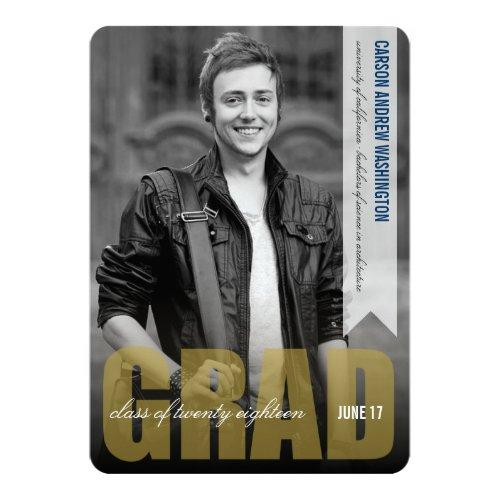 "Simple Modern GRAD Overlay Graduation Announcement 5"" X 7"" Invitation Card"