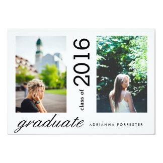 Simple Modern Graduate Two Photos Card