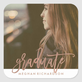 Simple Modern Graduate with Photo Square Sticker