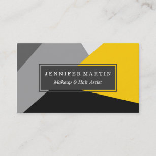 Yellow and gray business cards templates zazzle simple modern gray yellow and black geo business card colourmoves