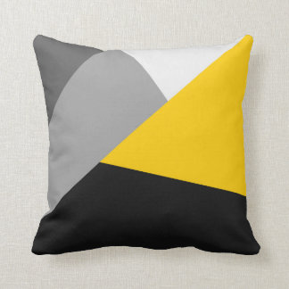 Simple Modern Gray Yellow and Black Geo Pillow