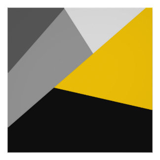Simple Modern Gray Yellow and Black Geo Poster