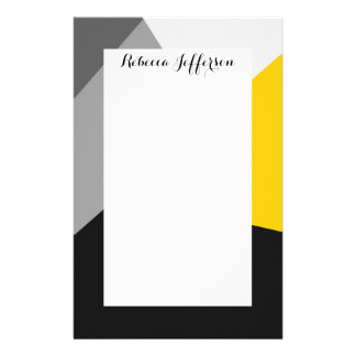 Simple Modern Gray Yellow and Black Geo Stationery