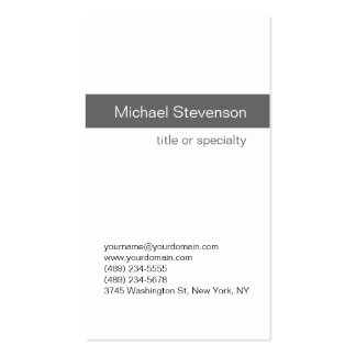 Simple Modern Grey White Consultant Business Card