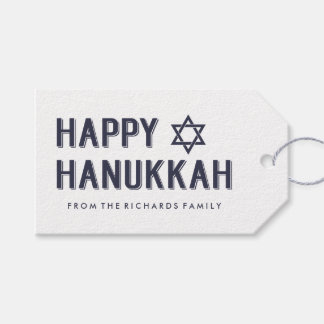 Simple Modern Happy Hanukkah with Star of David Gift Tags