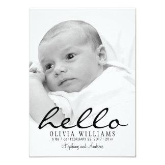 "Simple Modern Hello Baby Birth Photo Announcement 5"" X 7"" Invitation Card"