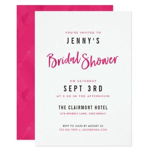 Simple Modern Hot Pink Bridal Shower Invitations