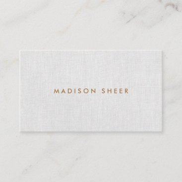 Simple Modern, Light Gray Linen Professional Business Card