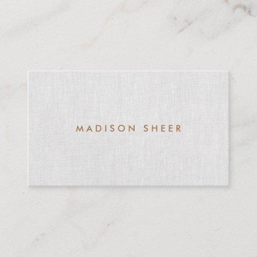 Simple Modern Light Gray Linen Professional Business Card