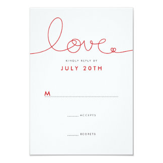 Simple Modern Loopy Love Red Heart Wedding RSVP Card