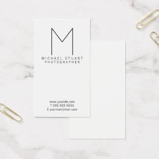 Simple Modern Minimalist Black and White Monogram Business Card