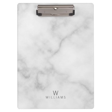 Aztec Themed Simple Modern Minimalist White Marble Monogram Clipboard