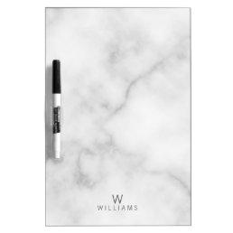 Simple Modern Minimalist White Marble Monogram Dry-Erase Board