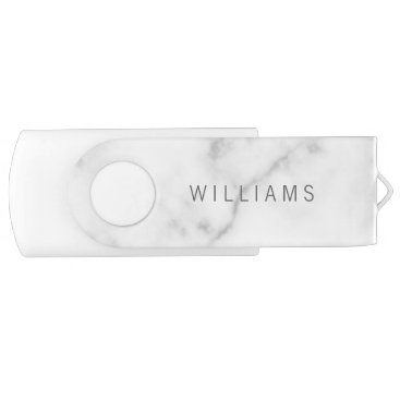 Aztec Themed Simple Modern Minimalist White Marble Name Flash Drive