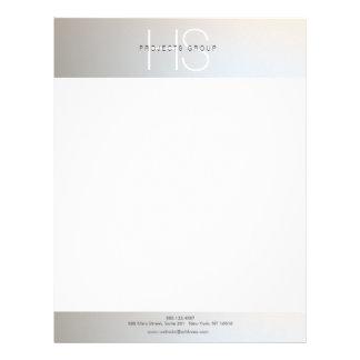 Simple Modern Monogram Professional Gray Silver Letterhead