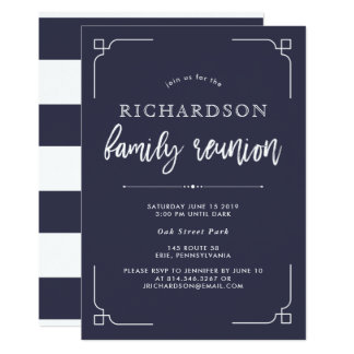 Simple Modern Navy Blue Family Reunion Card