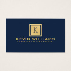 Simple Modern Navy Blue & Gold Geometric Accent Business Card at Zazzle