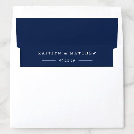 Simple Modern Navy Blue Wedding Envelope Liner