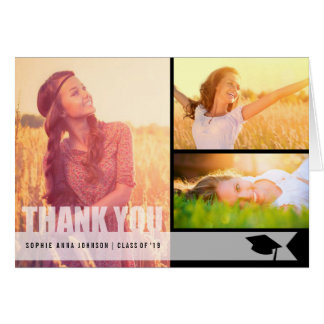 Simple Modern Overlay Graduation Photo Thank You Stationery Note Card