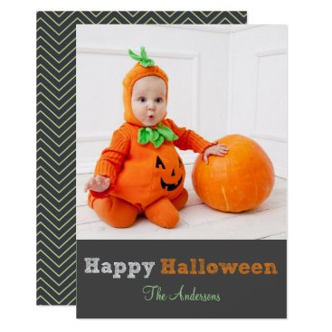 Halloween Themed Simple Modern Personalized Halloween Photo Card