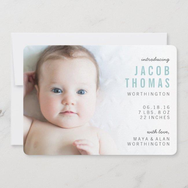 Simple Modern Photo Boy Birth Announcements