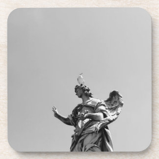 Simple, modern photo of seagull on top of statue beverage coaster