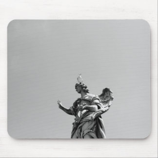 Simple, modern photo of seagull on top of statue mouse pad