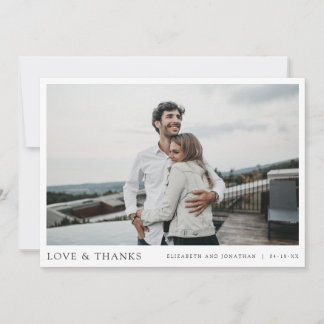 Simple Modern Photo Thank You Wedding Card