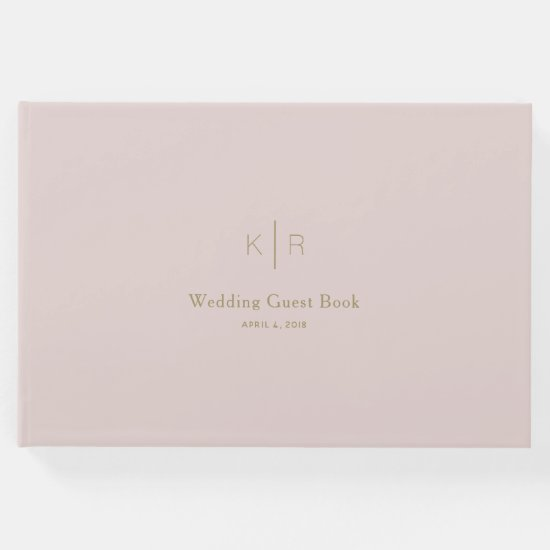 Simple Modern Pink Beige Gold Wedding Guest Book