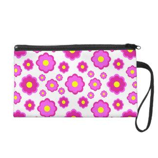 simple modern pink floral pattern wristlet purse