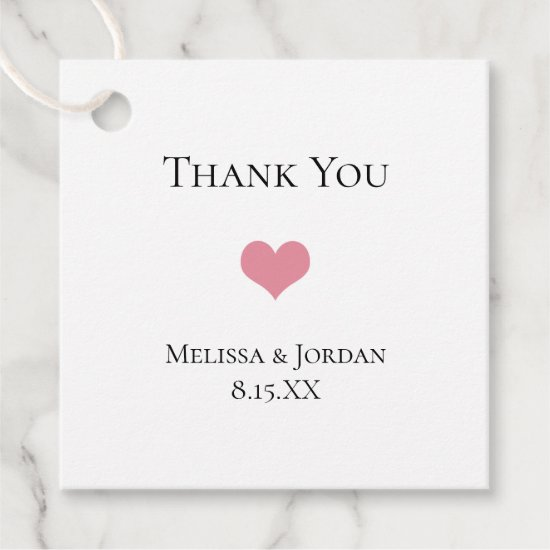 Simple Modern Pink Heart Wedding Thank You Favor Tags