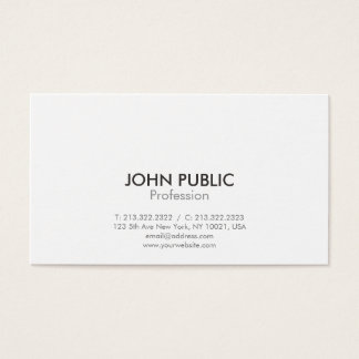 Simple Modern Professional Elegant Design White Business Card