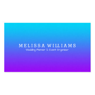 Simple Modern Purple To Blue Ombre White Accent Business Card